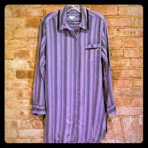 DKNY Purple & Blue Stripe Shirt Dress